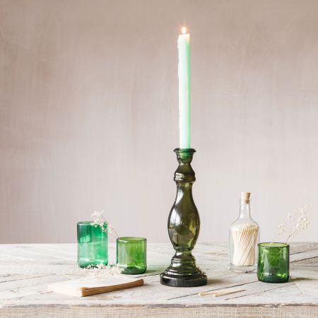 Green Glass Column Candle Holder
