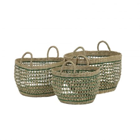 Set of Three Green Seagrass Baskets
