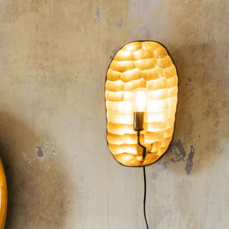 Gold Hammered Wall Light