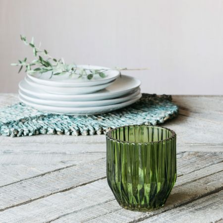 Olive Short Ribbed Tealight Holder
