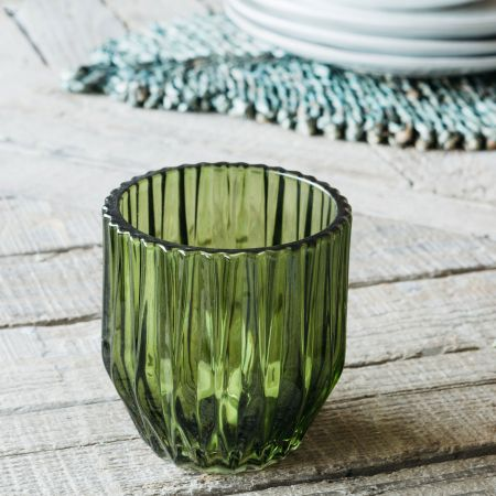 Olive Short Ribbed Tea Light Holder