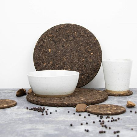 Set of Four Smoked Cork Round Placemats