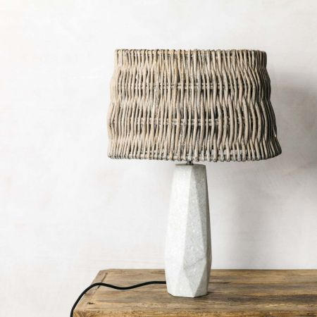 Washed Grey Woven Lamp Shade