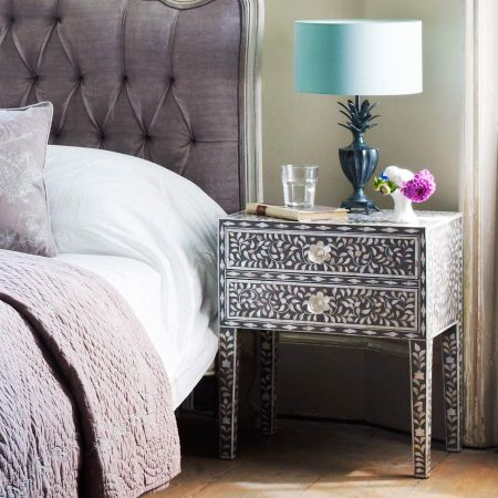 Maxi Grey Mother of Pearl Bedside Table