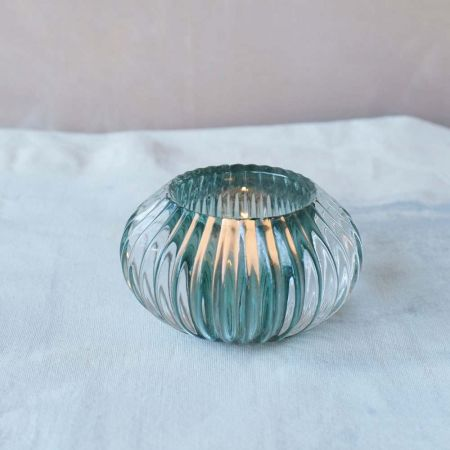 Dark Green Glass Tea Light Holder
