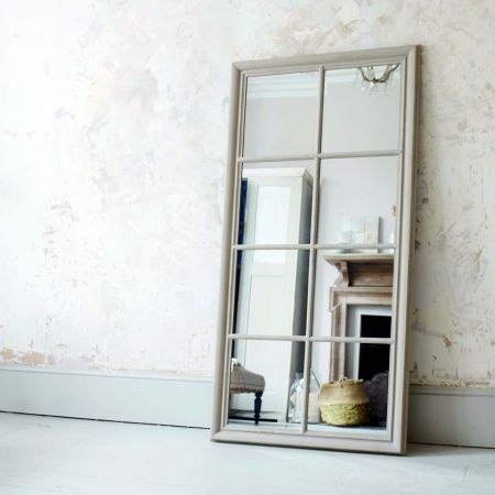 Taupe Window Pane Wall Mirror