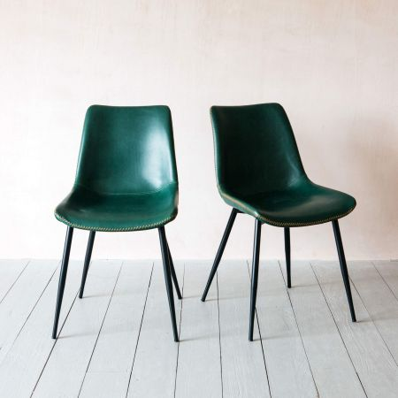 Set of Two Novak Green Chairs