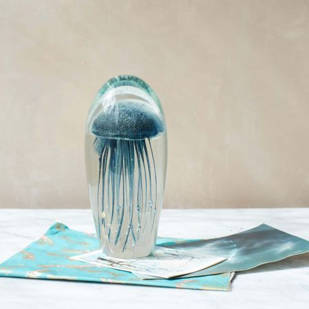 Extra Large Blown Glass Blue Jellyfish Paperweight