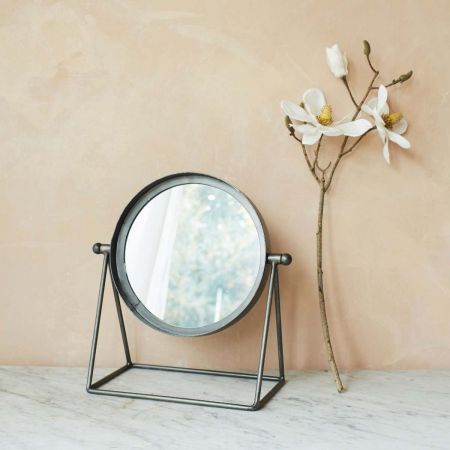 Round Industrial Table Mirror - Thumbnail