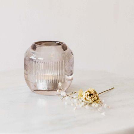 Pepper Reeded Glass Tea Light Holder