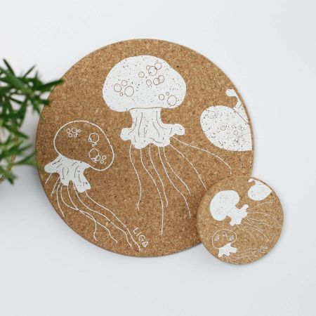 Cork Jellyfish Placemats and Coasters