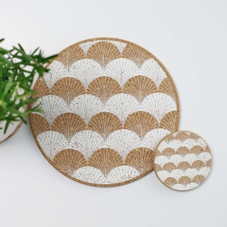 Cork Scallop Placemats and Coasters