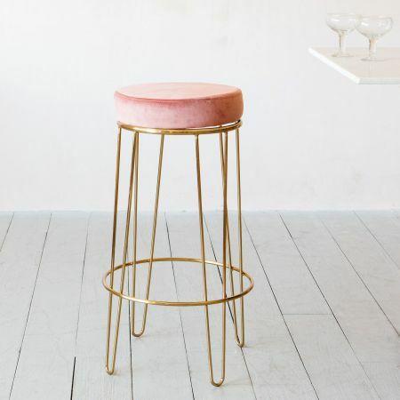Gatsby Pink Velvet Bar Stool