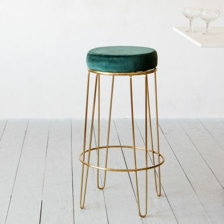 Gatsby Green Velvet Bar Stool