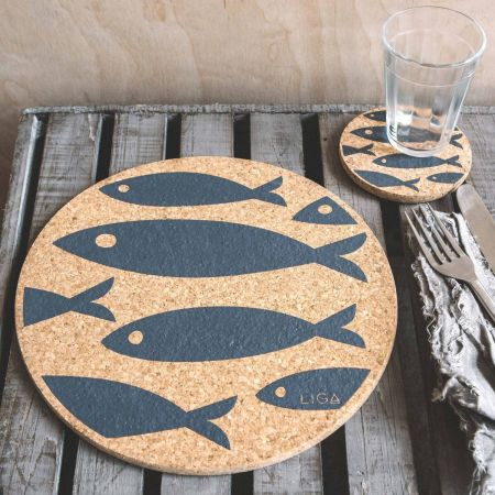 Cork Grey Fish Placemat and Coaster