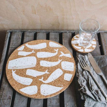 Cork Whales Placemat and Coaster