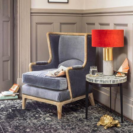 Valentin Grey Velvet Armchair