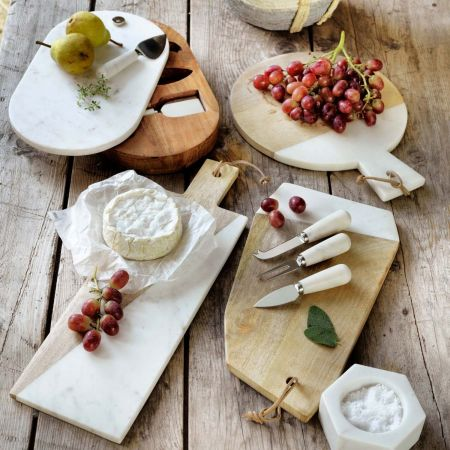 Angular Mango Wood and Marble Cheese Board