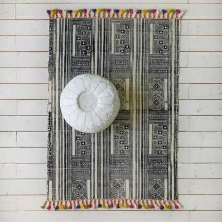 Mayan Block Print Rug with Colourful Tassels