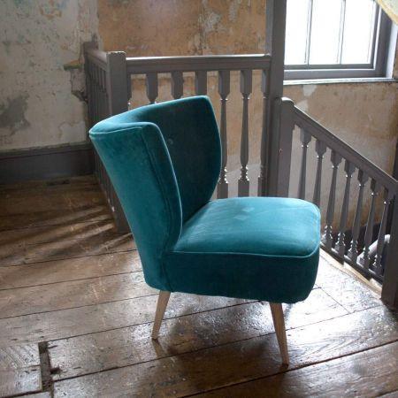 Alpana Teal Velvet Cocktail Chair