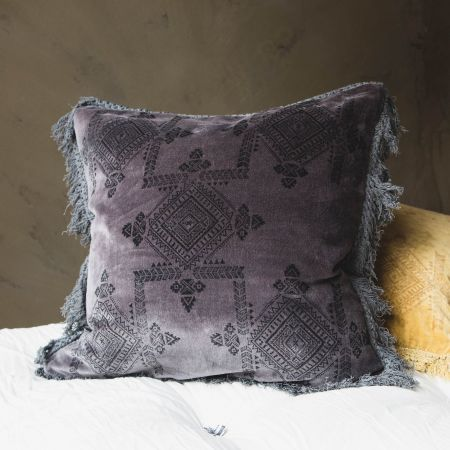 Square Grey Fringed Cushion