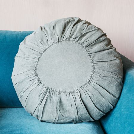 Large Jade Round Linen Cushion