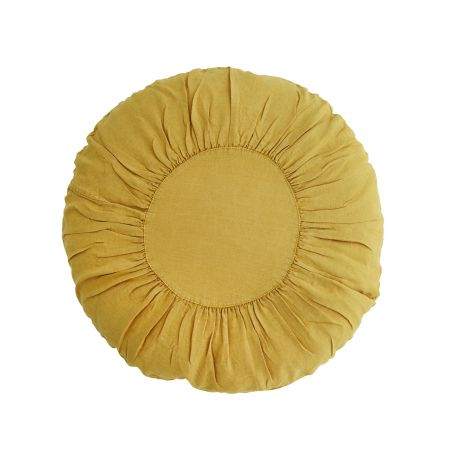 Large Sunflower Round Linen Cushion