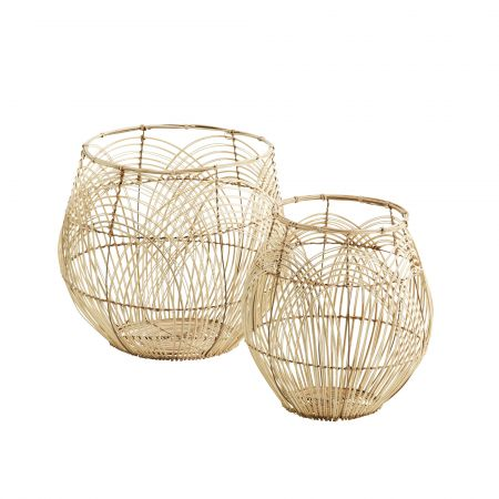Set of Two Round Rattan Baskets