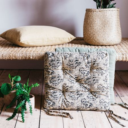 Sand Floral Printed Seat Pad