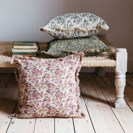 Cream and Rose Floral Printed Cushion