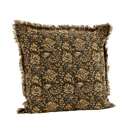 Olive and Navy Floral Printed Fringed Cushion
