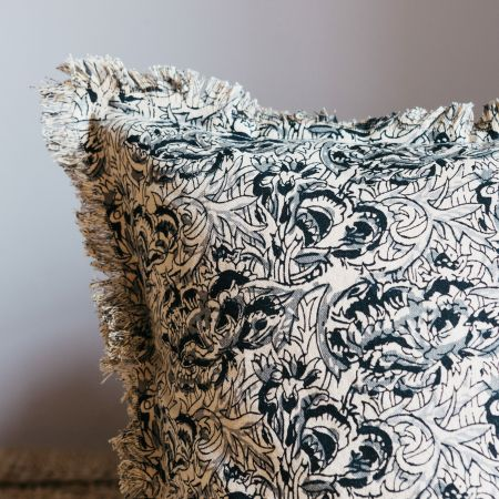 Sand and Black Floral Printed Cushion