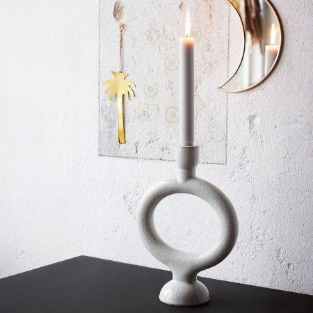 White Stone Circle Candle Holder