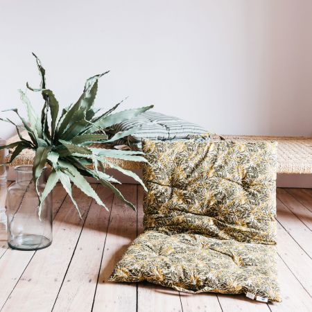 Long Green Floral Seat Pad
