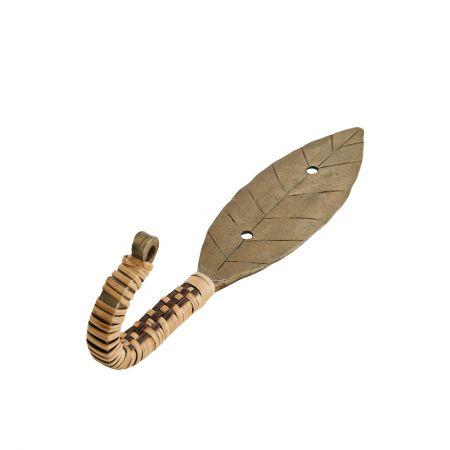 Antique Brass and Cane Leaf Hook