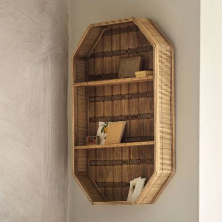 Tall Woven Bamboo Shelf