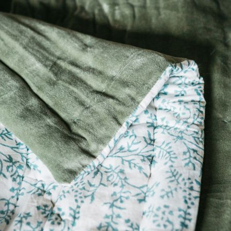 Sage Green Velvet Super King Size Quilt with Printed Reverse