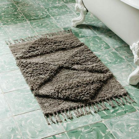 Taupe Tasselled Bath Mat
