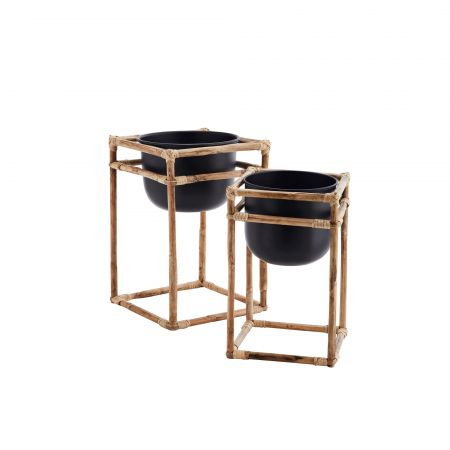 Set of Two Bamboo and Iron Planters