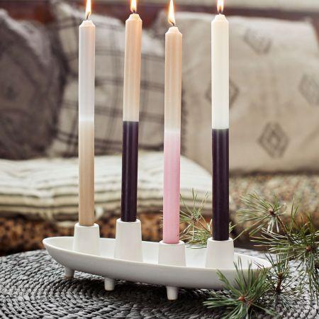Long Stoneware Candle Holder