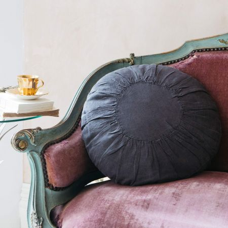 Charcoal Round Linen Cushion