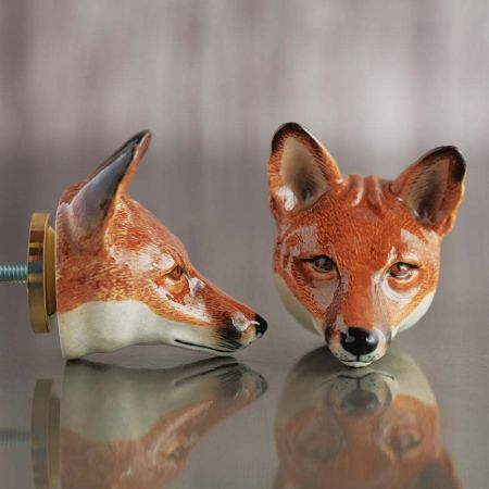 Fox Head Ceramic Knob