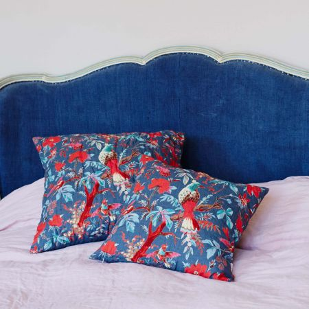 Stormy Blue Bird of Paradise Cushions