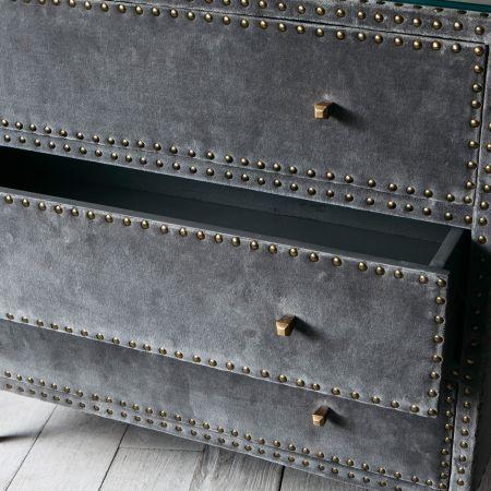 Eleonora Grey Velvet Chest of Drawers