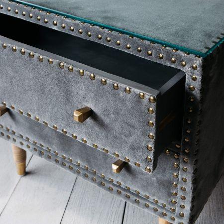 Eleonora Grey Velvet Bedside Table