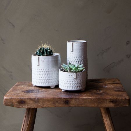 White Face Imprint Plant Pots