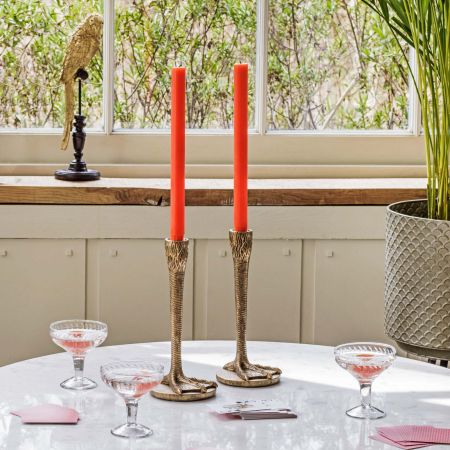 Set of Two Gold Goose Feet Candlesticks