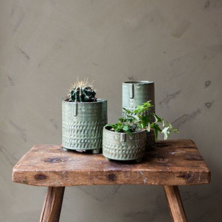 Green Face Imprint Plant Pots