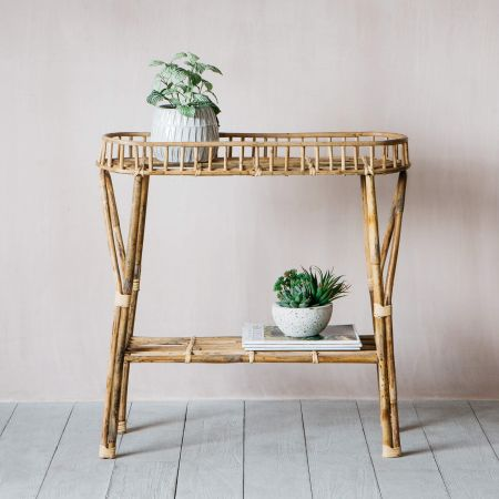 Two Tiered Bamboo Table