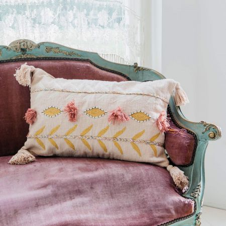 Embroidered Tassel Cushion